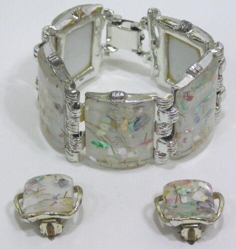Vtg Jewelry Set Confetti LUCITE Bracelet Earrings Big Chunky Squares 1960s