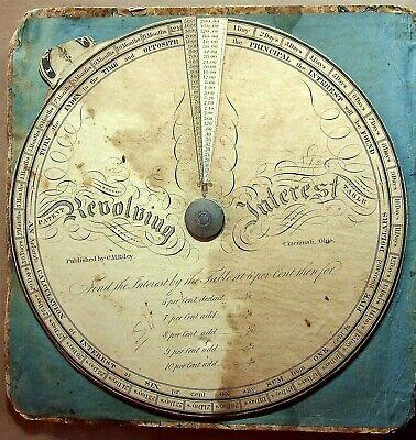 1839 C. M. Riley Ohio Revolving Interest Table Tool Calculates Interest Rates