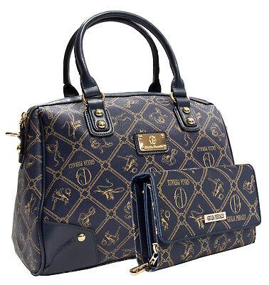 Blaue Damenhandtasche Giulia Pieralli 2622b Blau + Geldbörse SET Taschen