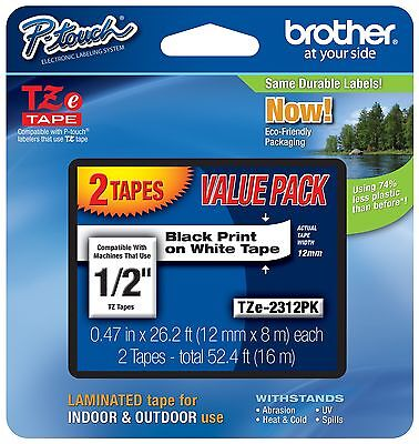 2-pack Genuine Brother Tze2312pk Label Tape Tze231 Tz-231 Authorized Dealer