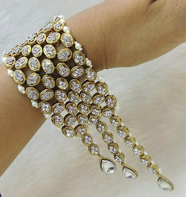 Indian Gold Tone Bridal 18K Bracelet Bangle Wedding Pearl Fashion Jewelry