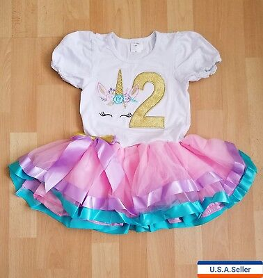 Unicorn Baby Girl Birthday Party outfit Dress 2 year old - New Years Parties