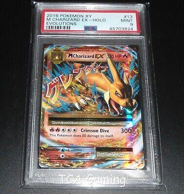 PSA 9 MINT MEGA M Charizard EX 13/108 XY Evolutions HOLO RARE Pokemon Card