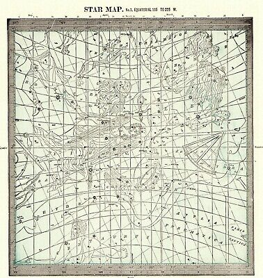 1901 Antique ASTRONOMY Print Star Constellation Map Chart Astrology Map 7102