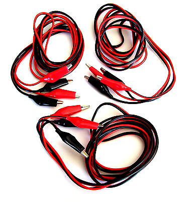 3 Sets Goliath Industrial 7ft Heavy Duty Test Leads 18 Gauge Wire Alligator Clip