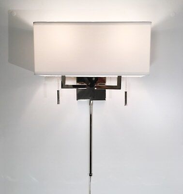 Polished Nickel Modern Wall Sconce Fixture with Rect. Shade, Hardwire or Plug-In