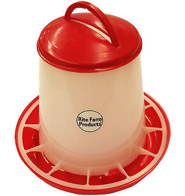 Small Rite Farm Products Hd 3.3 Pound Chicken Feeder Lid Handle Poultry Chick