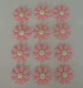 EDIBLE SUGAR ICING PINK DOUBLE DAISY FLOWER CUPCAKE / CAKE DECORATIONS
