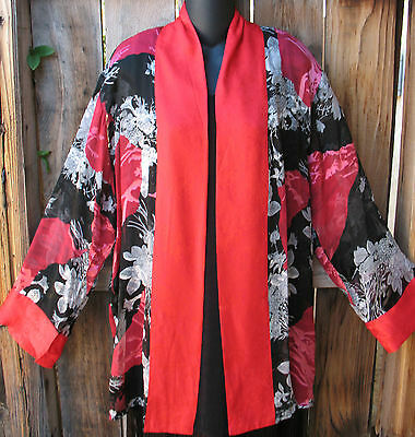 Art To Wear Black & Red Floral Silk Kimono Jacket By Aris.a ,47b, Sz Med