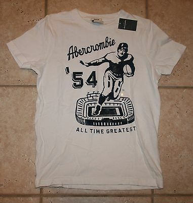 Abercrombie Boys Large Size 12 Ss White All Time Greatest Football T-shirt