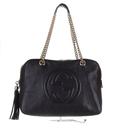 GUCCI Soho Medium Black Leather Tote Chain Shoulder Bag Purse