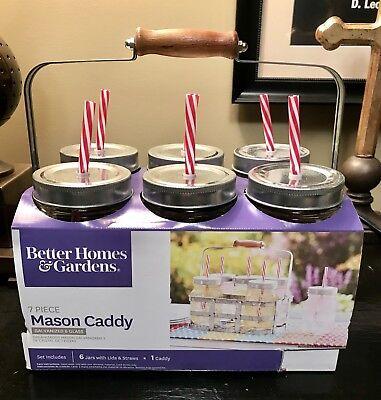 Farmhouse 7 PC Mason Jar Drinking Jars With Straws And Galvanized Caddy NIB
