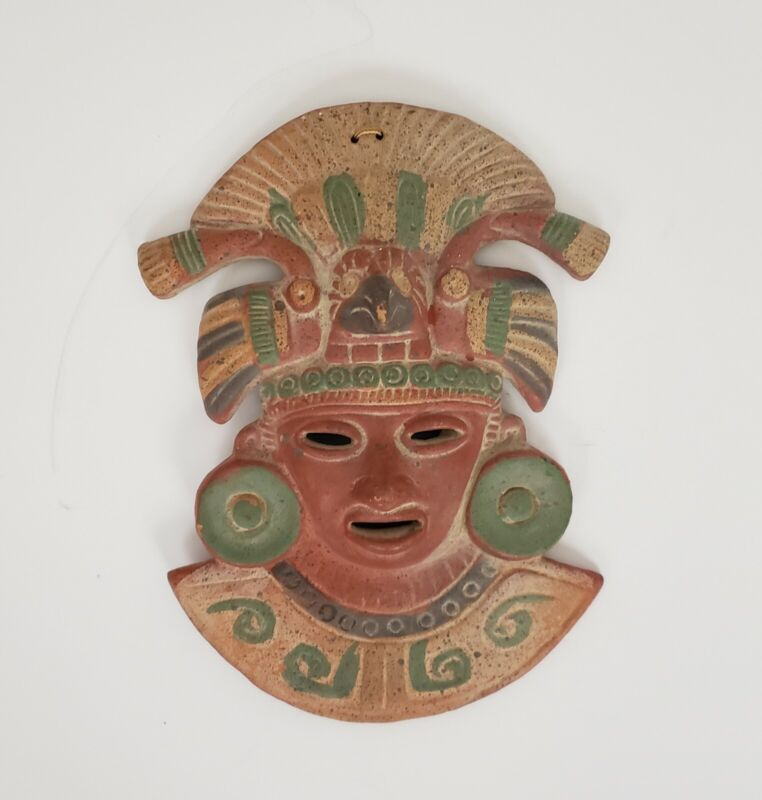 Vintage Aztec Mayan Wall Face Head Mask Mexican Red Clay Terracotta Pottery Art