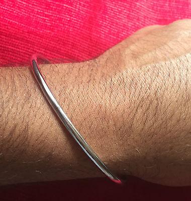 Stunning Chrome Plated Round Smooth Plain Sikh Khalsa Kara Bracelet Bangle K1
