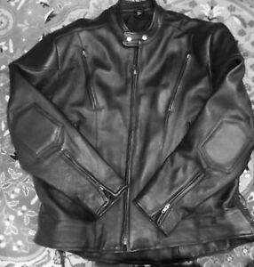 Men's Leather Motorcycle Jacket — Size 48 (XL)