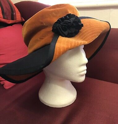 Vintage Orange & Black Brimmed Hat with Flower