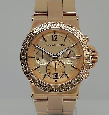 Michael Kors Women's MK5412 Dylan Rose-Tone Chronograph Baguette Bezel Watch