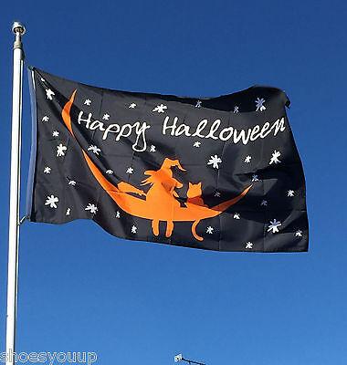 Happy Halloween Hexe & Katze auf Mond 5ft X 0,9 M (150cm X 90cm) Fahne Banner