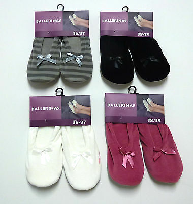 Damen Ballerina Hausschuhe HomeSocks Slipper ABS Socken Gr.36/37,38/39,40/41 NEU