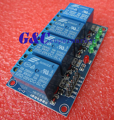 1pcs 9v 4 Channel Relay Module Indicator Light Led Arduino Pic Arm Dsp Avr M65