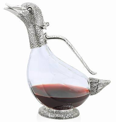 Duck Decanter Silver Plated Glass - Water Wine Jug Carafe Pitcher Boxed Gift New