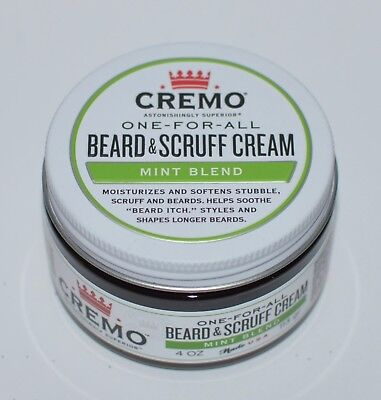 NEW CREMO ONE FOR ALL BEARD SCRUFF CREAM MINT BLEND 4 OZ SOFTENS LONG (Beard For Long Face)