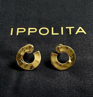 Ippolita Senso Small Luna Earrings 18K Gold Brand New Without Tags