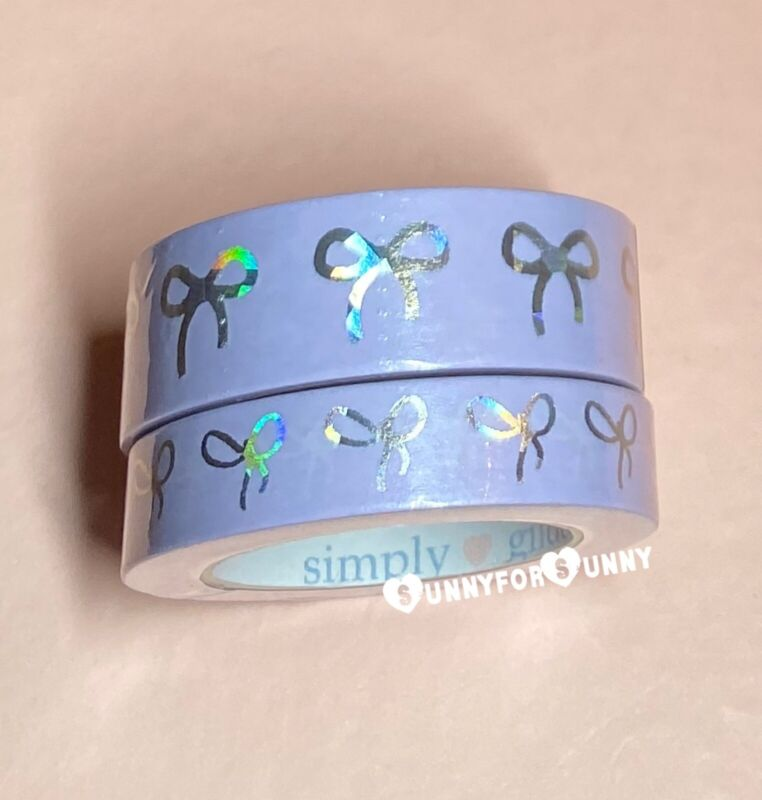 Simply Gilded *ROCK CANDY* Silver *Sparkler* Holo Bow Washi Tape Set