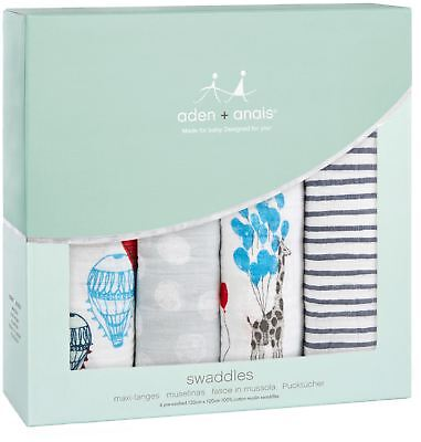 aden + anais CLASSIC SWADDLE 4 PACK DREAM RIDE Baby Bedding Blankets BN