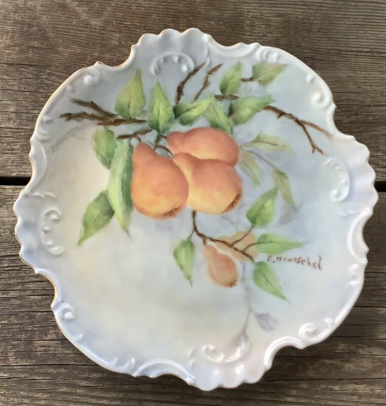 Lovely Vintage E. Hentschel Gilded Edge Blue Plate With Hand Painted Pears