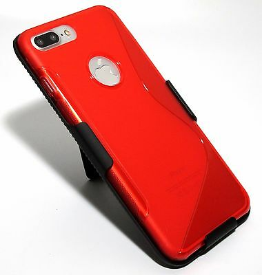 for iPhone 7 Supplementary Red Slim Soft TPU Case with Slim Belt Clip Holster