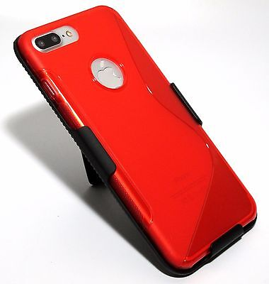 for iPhone 7 Gain Red Slim Soft TPU Case with Slim Belt Clip Holster