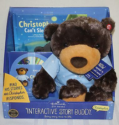 Hallmark New Christopher Can't Sleep Interactive Story Buddy Book CD Bear