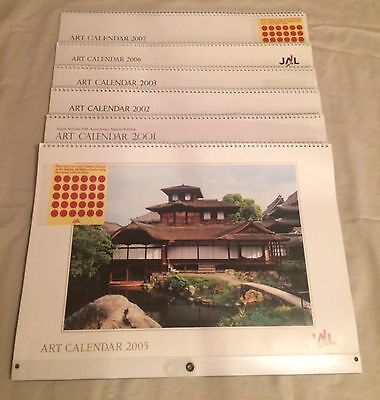 Lot of SIX Japan Airlines Art Calendars 2001 50th Anniversary & 5 More