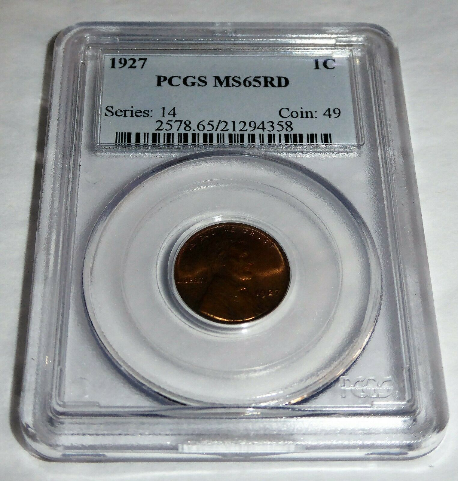 1927 1C PCGS MS65RD Lincoln Wheat Small Cents One Penny Cent Coin Currency 💎