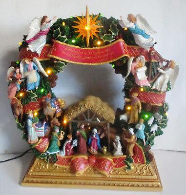 Danbury Mint Christmas Nativity Wreath Lighted RARE