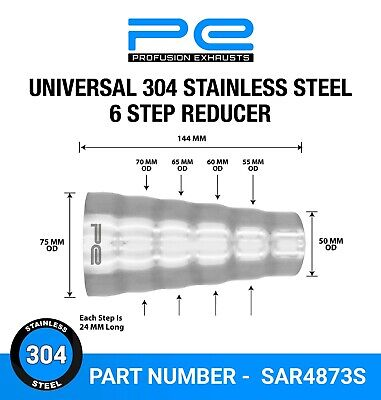 Universal 304 stainless exhaust 6 step reducer adapter connector tube pipe cone