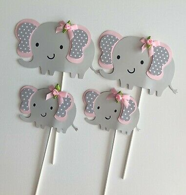 Elephant Centerpieces stick/baby shower/light Pink and Gray elephant/ - Pink And Grey Baby Shower Decorations