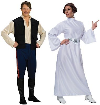 Couples Costumes Han Solo and Princess Leia Adult Star Wars Halloween - Princess Leia Han Solo Costumes