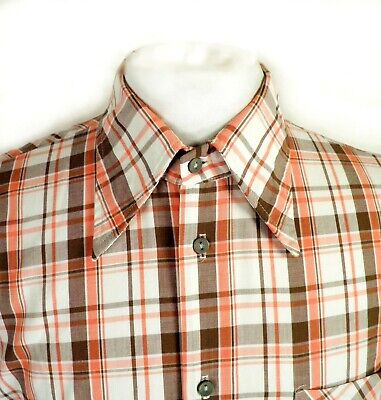 1970s Mens Shirt Styles – Vintage 70s Shirts for Guys 1970s Brown Orange and White Check Dagger Collar Cotton Shirt Size S / M $33.83 AT vintagedancer.com
