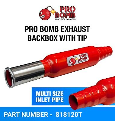 PRO Bomb Universal back box round tail pipe exhaust silencer In Cherry Red Color