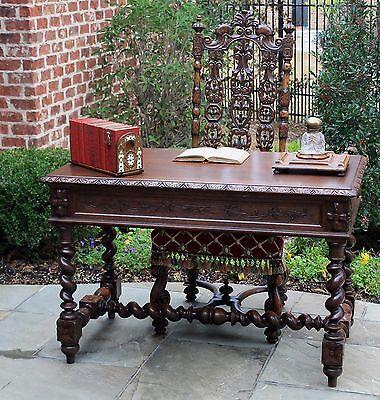 Antique French  Barley Twist Renaissance Revival Desk Bureau Plat Library Table
