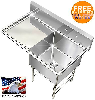 Pot Sink Heavy Duty Stainless Steel 14ga 1 Tub 39x24 Nsf Left Drainboard Only