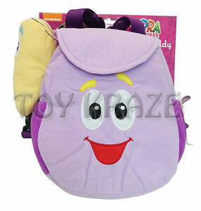 DORA-THE-EXPLORER-MR-FACE-TETHER-BUDDY-PLUSH-BACKPACK-PURPLE-SOFT-BAG-9-034-NEW