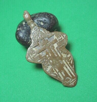 Ancient Bronze Cross Wearable Pendant Antique Rare C171