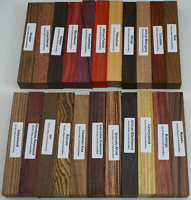 "22 Different Exotic Wood Pen Blanks ¾""x5"" Cocobolo, Zebrawood, Bocote, Koa M-22"