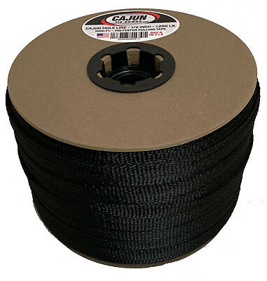 Cajun Mule Line - 12 Inch Black - 500 Feet - 1200 Lb. - Pull Tape - Polyester