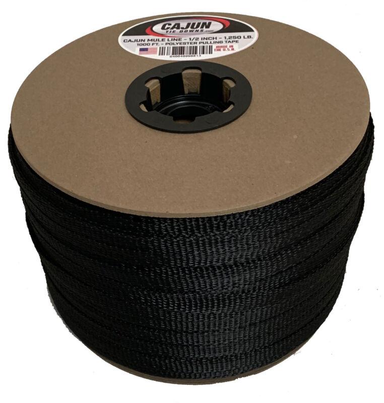Cajun Mule Line - 1/2 Inch Black - 500 Feet - 1,200 lb. - Pull Tape - Polyester