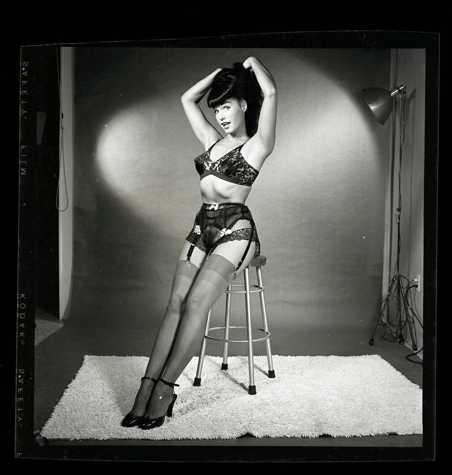 RARE BETTIE PAGE Lingerie Pinup Original 1954 2 1/4 Camera Negative Bunny Yeager - $1,525.00