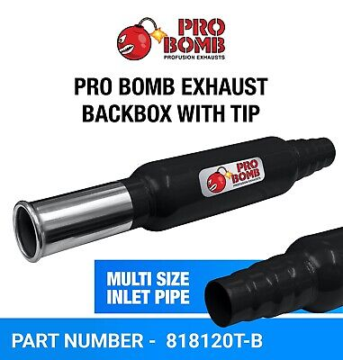 PRO Bomb Universal back box tail pipe exhaust In Gloss Black or Cherry Red Color